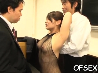 Nude office doxy gets manhandled away from her lustful colleagues