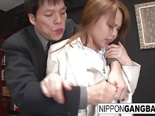 Asian office hottie gets gangbanged overwrought her colleagues