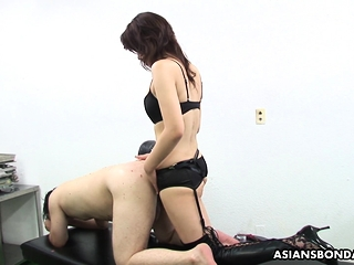 Remi Kawamura is wearing a strap- on and fucking arse