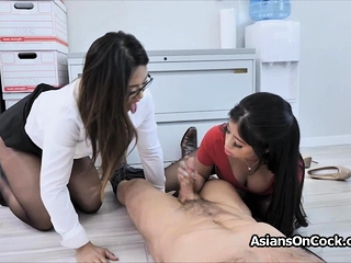 Asian secretaries sharing cock at the office