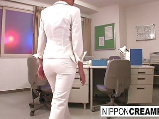Young original office intern gets initiated with two hard cocks