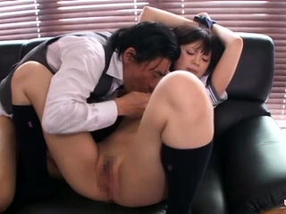 Asian schoolgirl likes to croak review rods and to get shoved