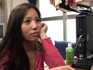 Enchanting leader asian girl Ruri Saijoh blowing for complying