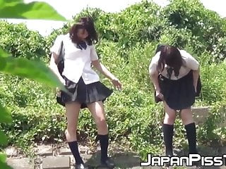 Japanese schoolgirl babes partying peeing not at home