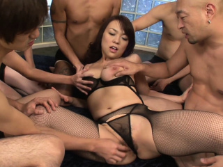 Gangbanging a broad in the beam titty Asian hottie