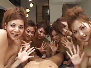 Japanese 6 Girls 1 Lucky Guy POV (Uncensored)
