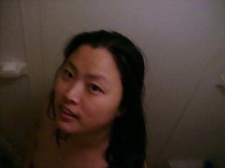 My wife back the shower
