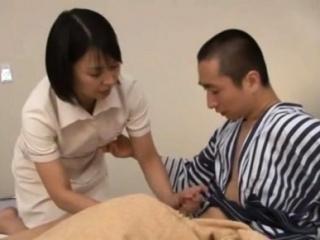Japanese milf nurse bows over for a hardcore vagina throbbing