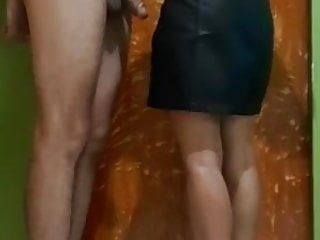 Passionate handjob at the end of one's tether her in leather short skirt & high heel