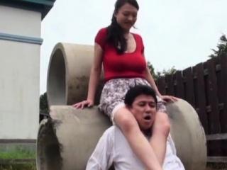 Lewd big-busted asian mature maid Emiko Ejima adores fucking