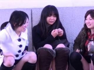 Asian babes realize filmed upskirt