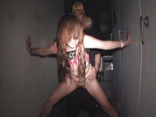 Japanese babe fucking bushwa at night