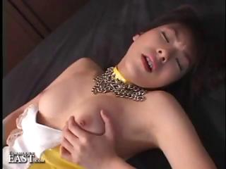 Japanese girl is horny and does some solo stance masturbation hither vibrator