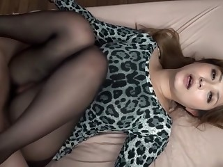 Imposing Japanese bawd Haruki Sato in Amazing stockings, couple JAV video