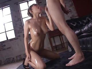 Fabulous Japanese whore Chisa Hoshino anent Horny blowjob, couple JAV scene