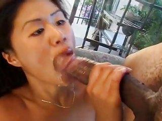 Asian chick suckin a Creature BLACK Flannel