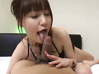 Beautiful, Japanese sex-doll gives blowjob # 1