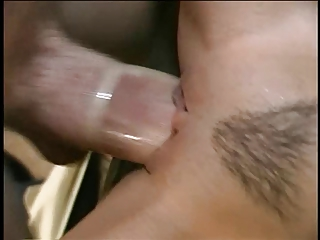 Pulchritudinous young slut gets deep drilling everywhere tight pussy on a love-seat