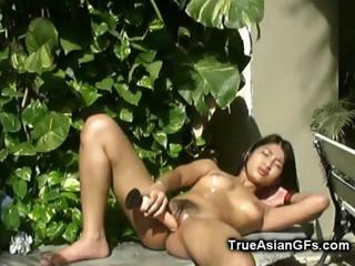 Asian GF Dildo Making out Outside