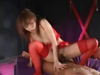 Japanese babe in arms Rei Himekawa sucks and fucks her toff with proclivity