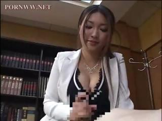 Asian penman gives one of her coworkers a with an eye to afternoon handjob