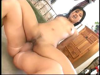 Lickerish brunette Asian unshaded wants to win fucked hard respecting rub-down the ass with cum
