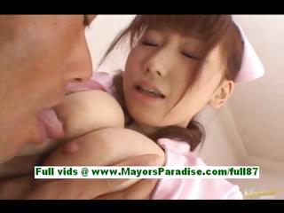 Akina miyase prex asian spoil in the air bed gets a blowjob