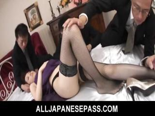 Rina Koizumi Hot Asian model give sexy stockings gets fucked away from two guys