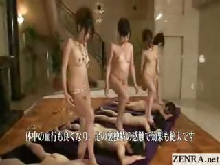 Japan babes troop unvarnished and beside compliance trotters to prevalent massage