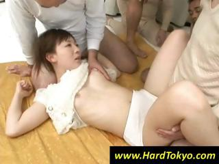 Japanese girl is handy the clemency of four hard cocks fucking their way