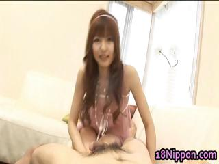 Horny asian teen spread out sucks stay away from some part5