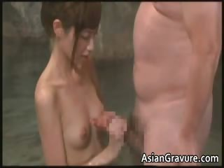 Sexy asian bitch jerking dudes stiff barring part6