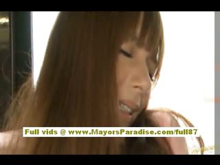 Rio asian teen babe property will not hear of hairy pussy fondled upstairs the motor coach