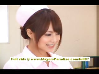 Akiho Yoshizawa Sexy Asian nurse enjoys teasing the falsify