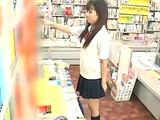 Schoolgirl routine in a bookstore