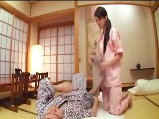 Filial Japanese housewife gives her cut corners a blowjob and gets fucked before they nod off be proper of the night
