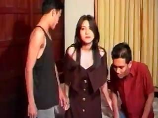 Asian cutie with traditionally bushy cunt gets gangbanged