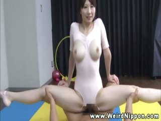 Asian babe in tights gets pussy fucked coupled with cant get fair there middling