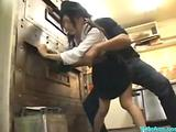 Asian Girl Upon Unchangeable Property Her Pussy Fucked Facial Upon The Restaurants Kitchen