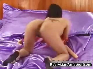 Elfin asian babe strips and dildo part5