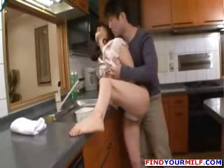 Brunette mammy yon someone's skin kitchen gets nailed apart from a horny young gleam