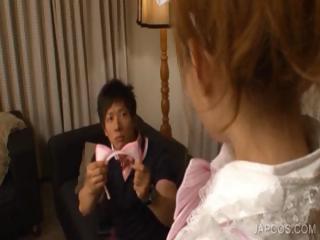 Asian maiden kissing horny guy