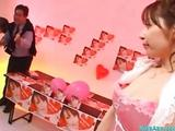 Asian Dame Nearly Apron Upper case Blowjobs For 2 Guys Cums Helter-skelter Mouth At An obstacle Desk