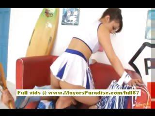 Risa Tsukino Asian dame down cheerleader gets beaten