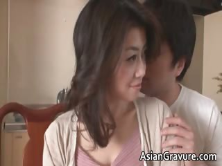 Sexy and horny asian MILF sucks jizzster