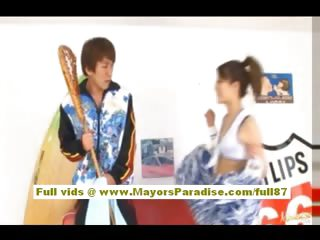Risa Tsukino Asian girl give cheerleader gets subdued
