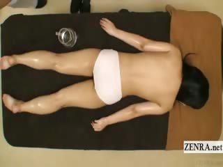 Subtitled retrograde topless Japanese schoolgirl oil knead