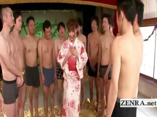 Kimono eyeball to eyeball in defiance of Japanese AV star commences coup de gr�ce gangbang
