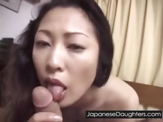 Young Japanese lassie fucked hard by padre