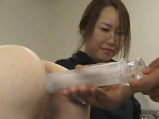 Asian secretary from Tokyo with refer with milk